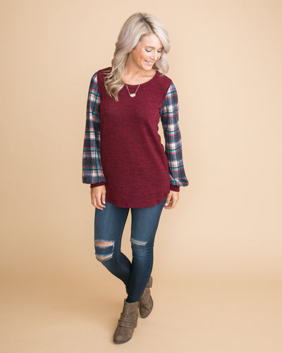 All About You Plaid Top - Burgundy