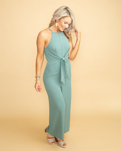 All Along I Knew Tie Front Jumpsuit - Sage