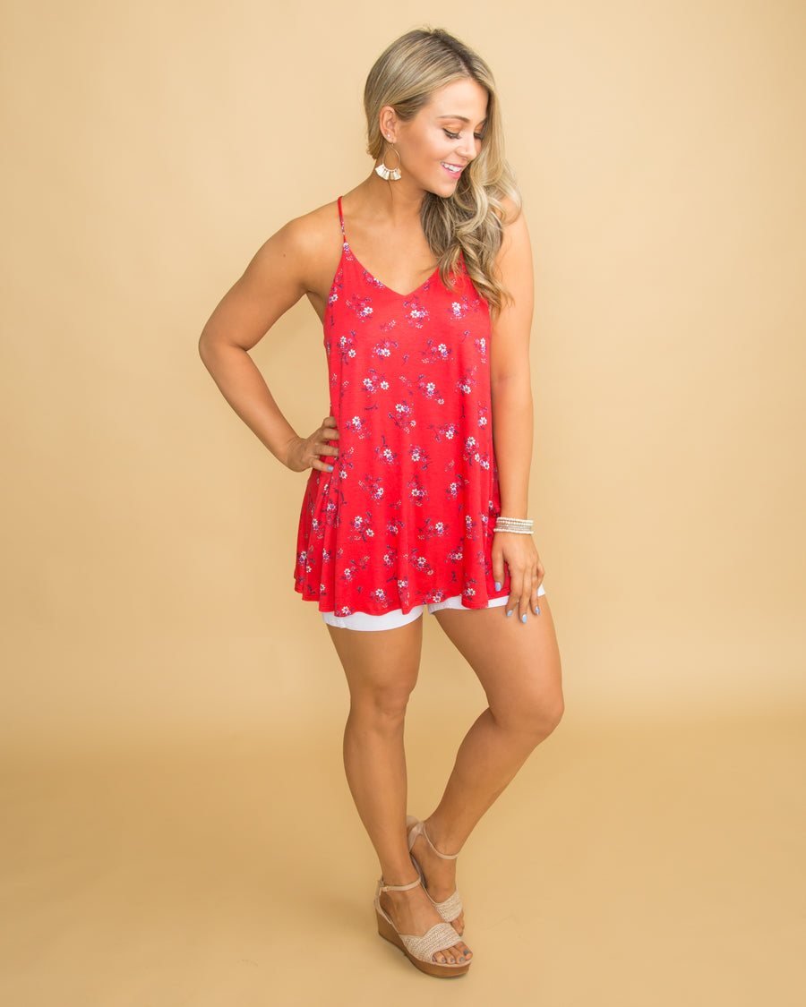 All Dolled Up Floral Tank - Red