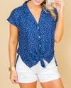 All Done In Love Polka Dot Top - Navy