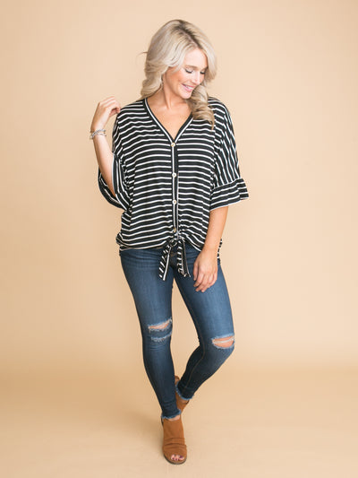All In Your Time Stripe Button Knot Top - Black
