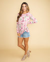 All That Matters Floral Twist Front Top - Pink