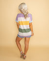 All The Moments We Have Waffle Knit Color-Block Top - Purple Multi