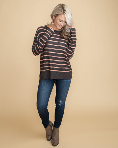 All Time Favorite Stripe Top - Charcoal