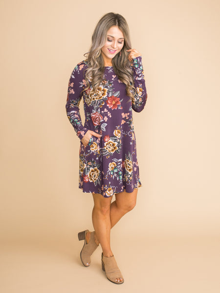 All Together Floral Dress - Purple
