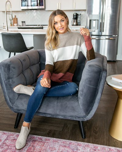 Always On My Mind Sweater - Mocha Multi