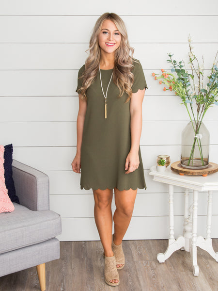 Always A Dreamer Scallop Dress - Olive
