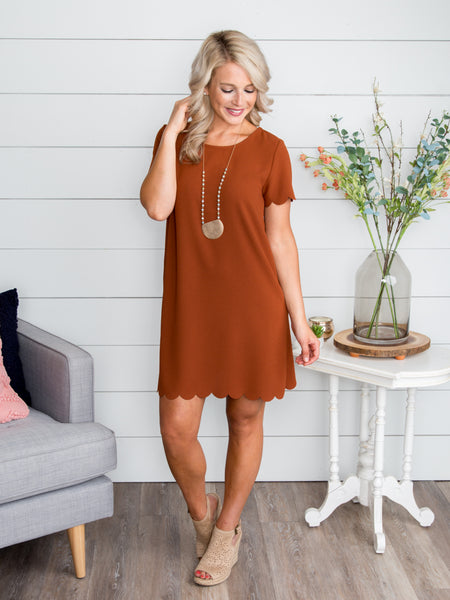Always A Dreamer Scallop Dress - Rust