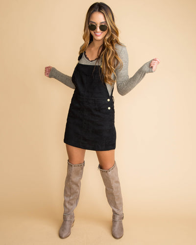 Always On Point Overall Dress - Black