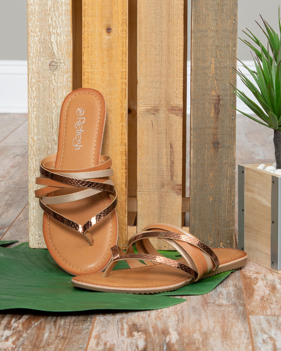 Amber Metallic Strappy Sandal - Tan