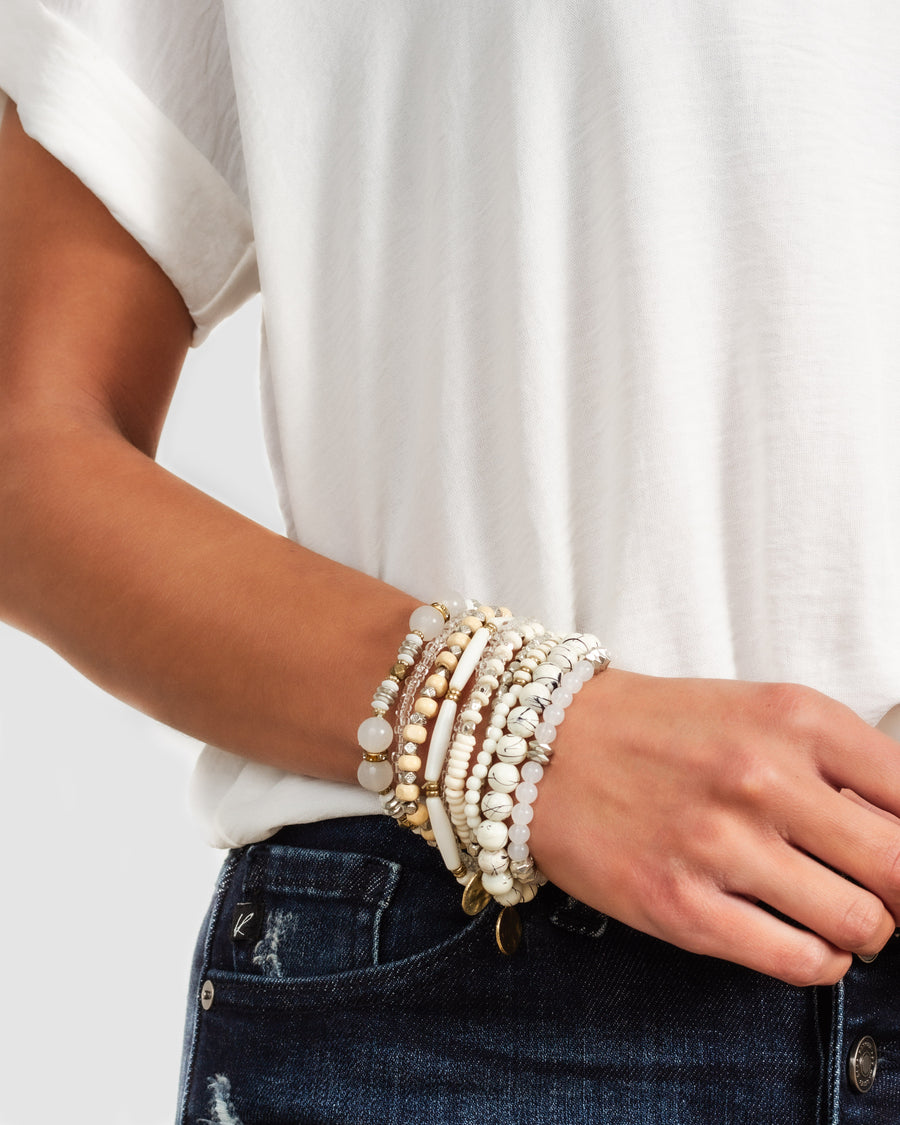 Amelia Stackable Bracelet - Ivory/Gold