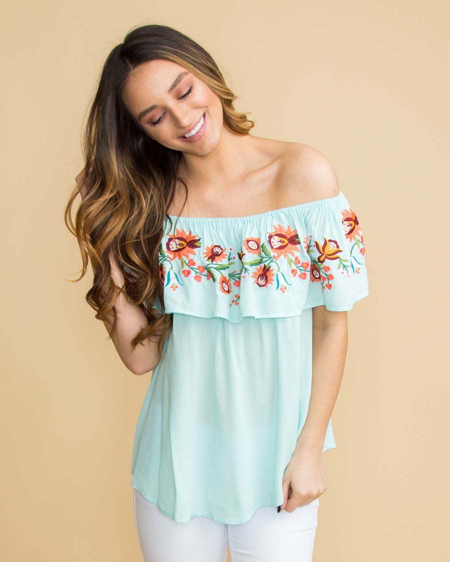 b777c5a037ace An Evening In Maui Off Shoulder Embroidered Top - Mint