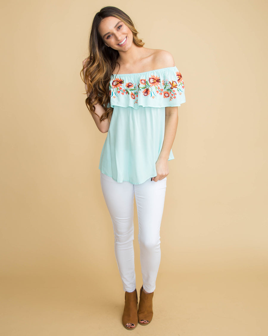An Evening In Maui Off Shoulder Embroidered Top - Mint