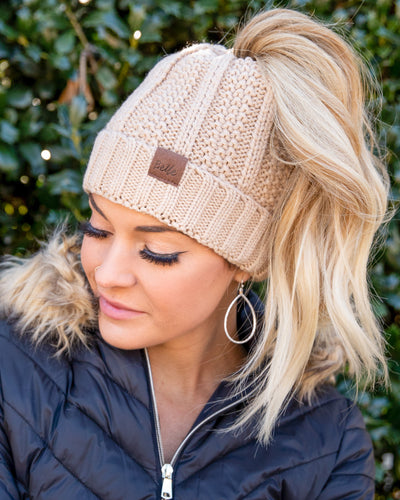 Andy Ponytail Beanie - Tan