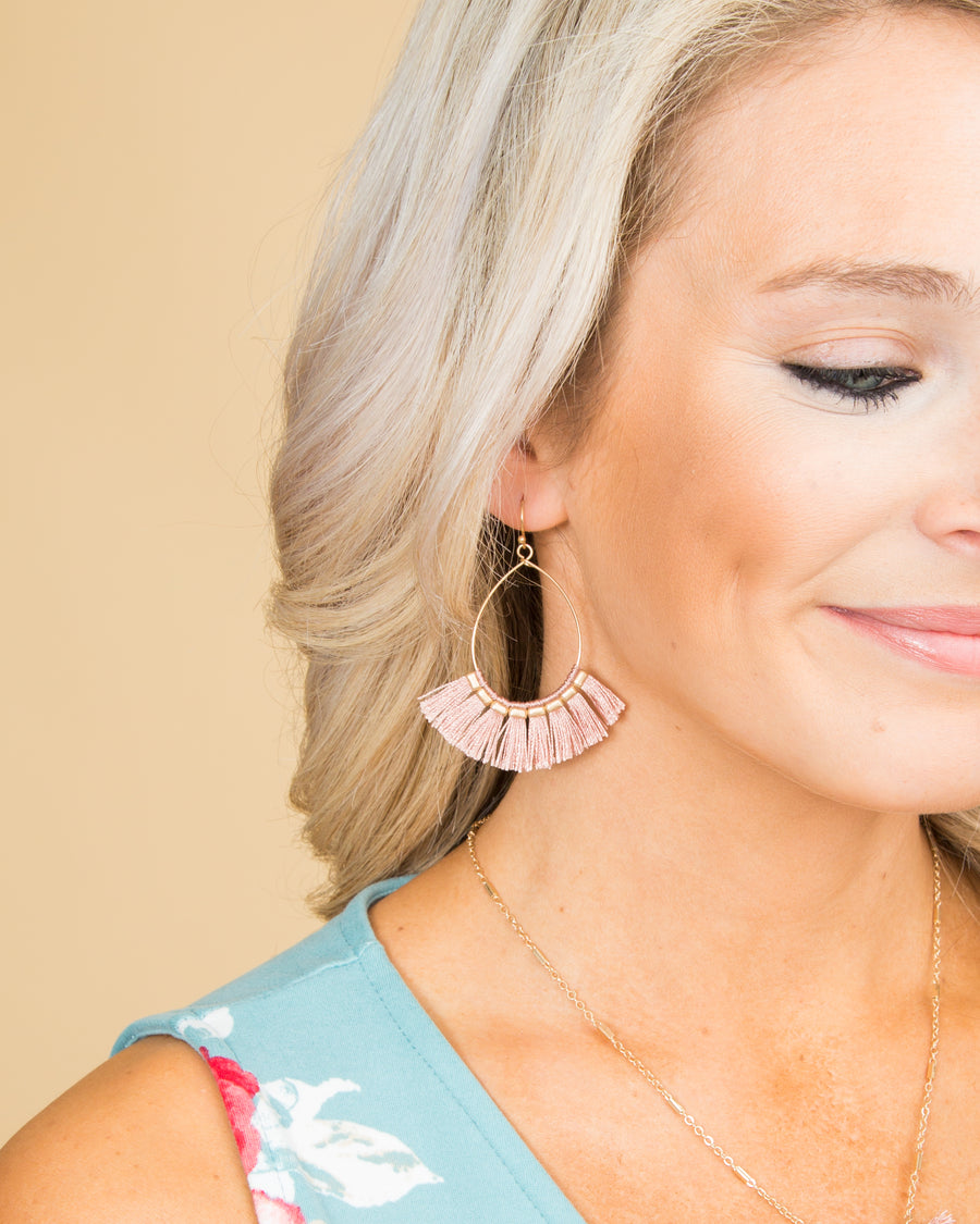 Anna Statement Earrings - Pink