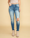 Annalia Distressed Skinny Jeans - Medium Wash