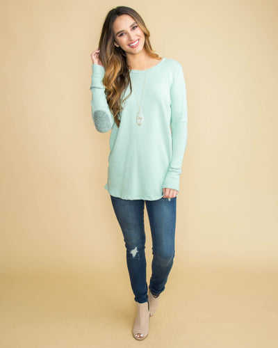 Another Day For Love Back Button Elbow Patch Top - Mint