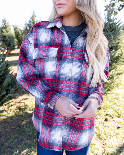 Aspen Weekend Flannel Shirt Jacket - Red/Grey