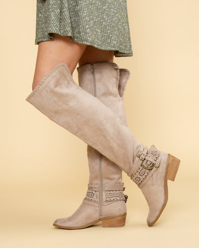 Not Rated Audrey Over The Knee Boots - Taupe