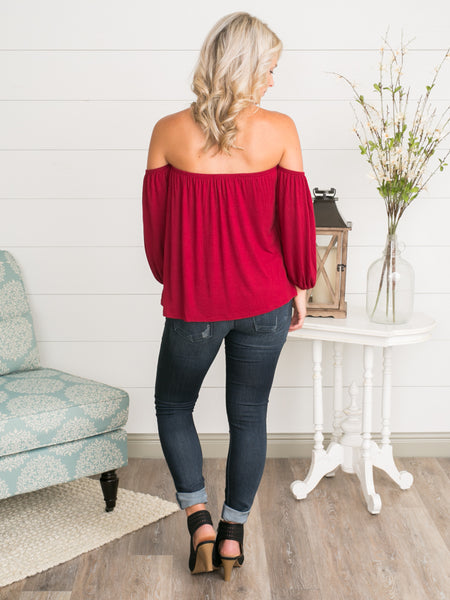 Cora Cold-Shoulder Top - Scarlet