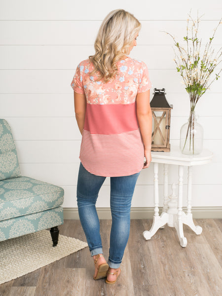 Cassidy Colorblock Top - Coral