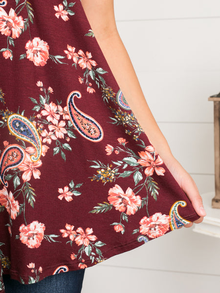 Meant To Be Floral Halter - Burgundy