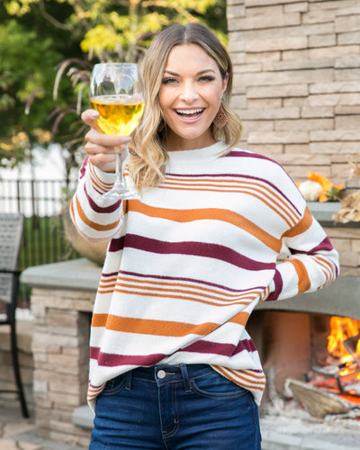 So Worth It Sweater - Wine Multi
