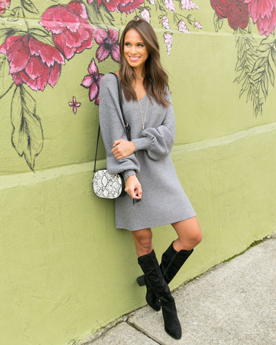 Autumn Stroll Sweater Dress - Grey