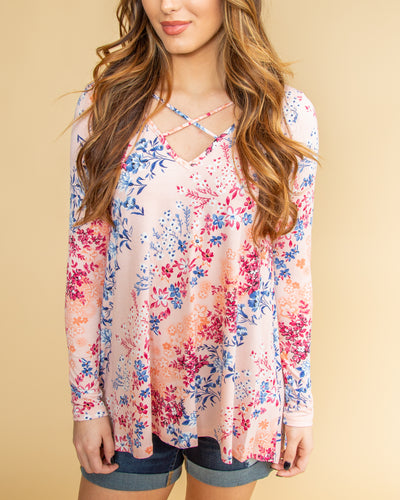 Available For Drinks Floral Criss Cross Top - Pale Pink