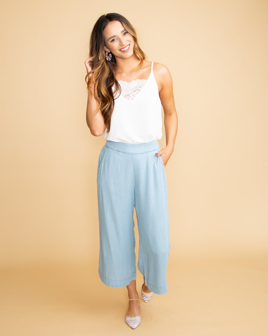 Away In Florence Culotte Chambray Pant - Denim