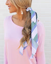 Ayla Stripe Hair Scarf - Light Blue