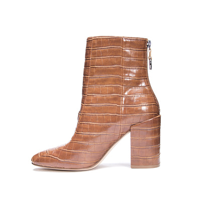 Chinese Laundry Weston Leather Crocodile Booties - Cognac