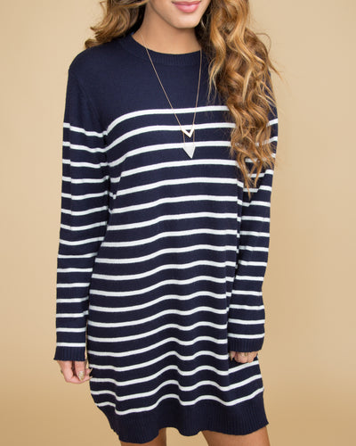 Babe In Boston Stripe Dress - Navy
