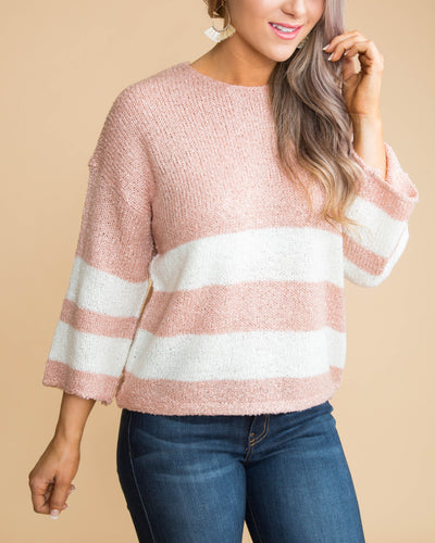 Babes And Brunch Color-Block Sweater - Blush
