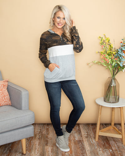 Back From Brunch Color-Block Camo Pullover - Multi