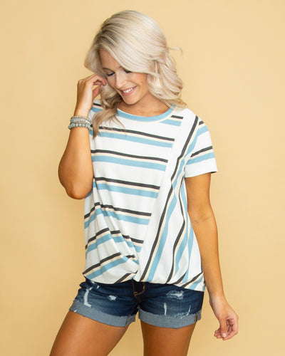 Back On Track Waffle Knit Stripe Knot Top - Off White/Multi