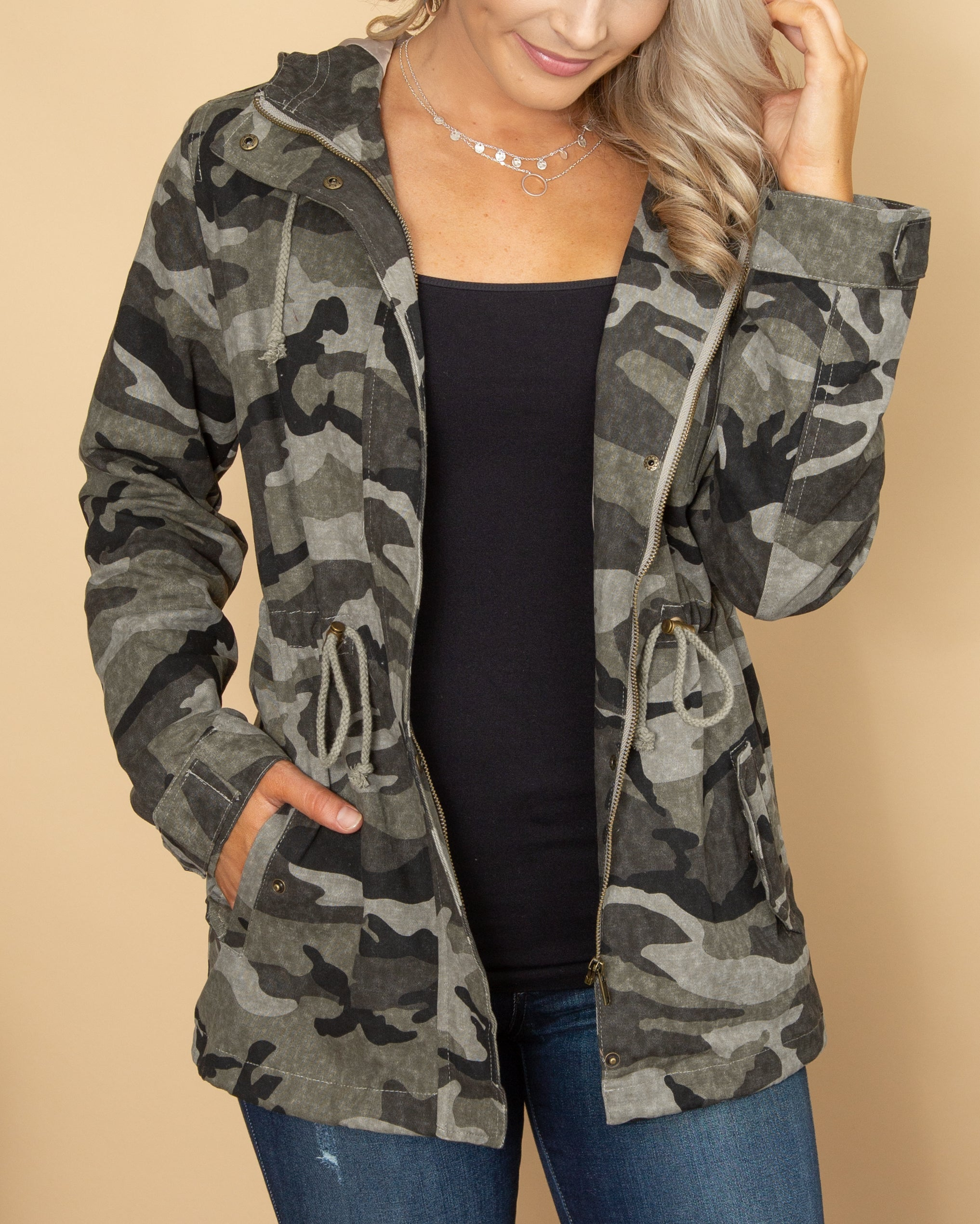Back To My Roots Camo Jacket - Grey