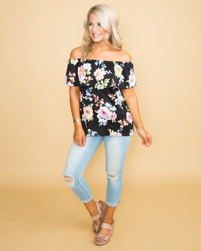 Bahamas Babe Strapless Floral Top - Black