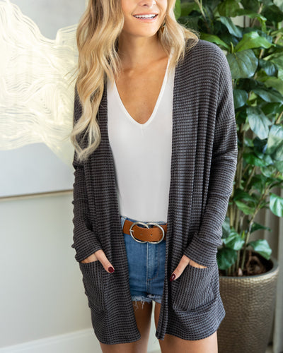 Be There For You Cardigan - Charcoal