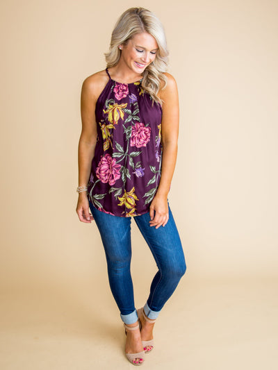 Be At Ease Floral Tank - Plum