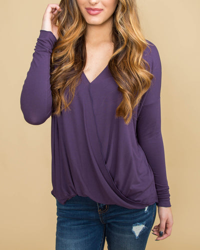 Be Bold Draped V-Neck Top - Plum