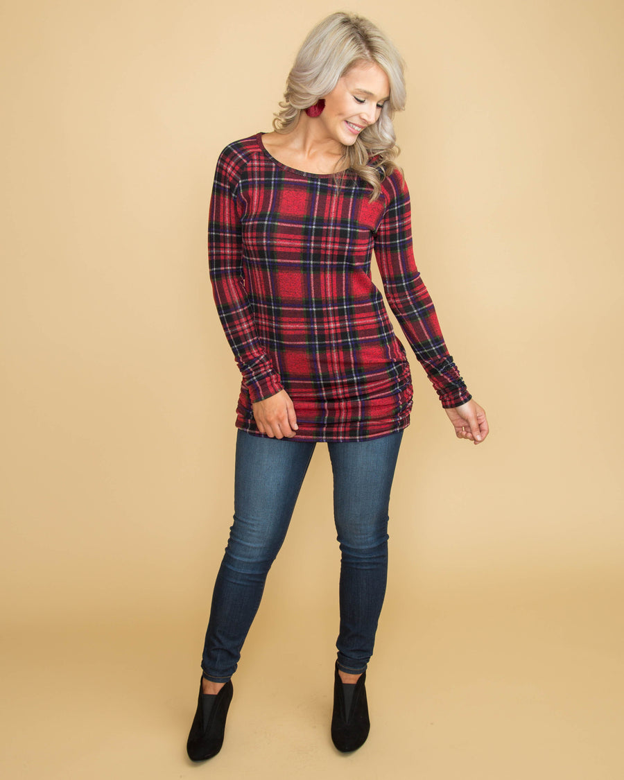 Be Merry Plaid Top - Red