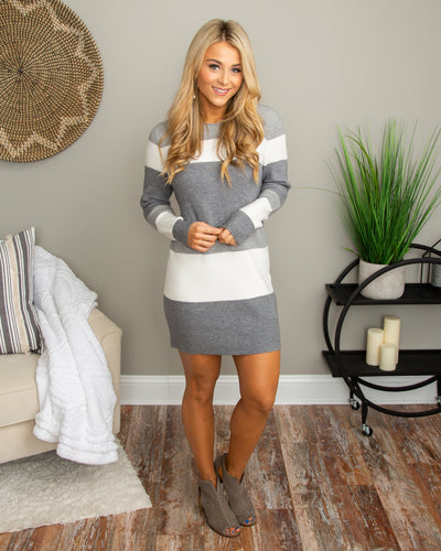 Be Thinking Of Me Sweater Dress - Grey