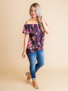 Be True To Yourself Off-The-Shoulder Floral Knot Top - Plum