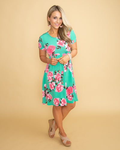 Beach Haven Floral Dress - Mint