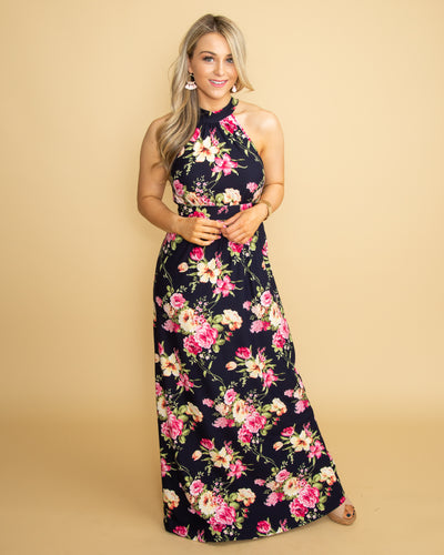Beachside Stroll Floral Maxi - Navy
