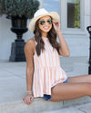 Beaming With Confidence Tank - Apricot/White