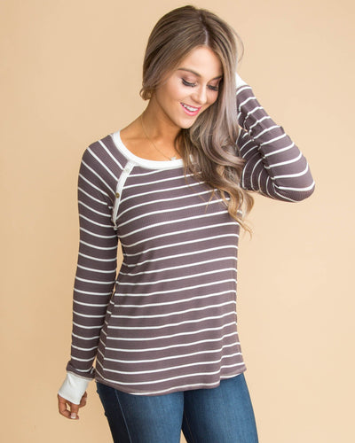 Beauty And Bliss Stripe Button Top - Cocoa