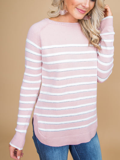 Beauty In The Best Way Stripe Top - Pale Pink