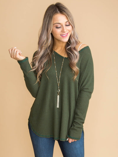 Beauty's Basic Waffle Knit Top - Olive